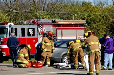 Paramedics at the scene of a fatal car accident in topeka, ks